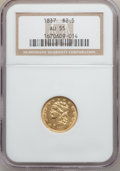 Classic Quarter Eagles, 1837 $2 1/2 AU55 NGC. Breen-6145, Variety 16, R.2....