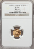 Commemorative Gold, 1915-S/S G$1 Panama-Pacific Gold Dollar MS65 NGC. Breen-7436....