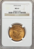 Indian Eagles, 1910-S $10 MS61 NGC....