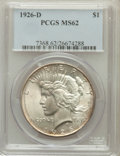 Peace Dollars: , 1926-D $1 MS62 PCGS. PCGS Population (720/3641). NGC Census:(346/2250). Mintage: 2,348,700. Numismedia Wsl. Price for prob...