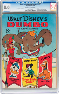 Four Color (Series One) #17 Dumbo (Dell, 1941) CGC VF 8.0 Off-white to white pages