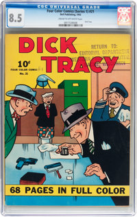Four Color (Series One) #21 Dick Tracy - File Copy (Dell, 1942) CGC VF+ 8.5 Cream to off-white pages