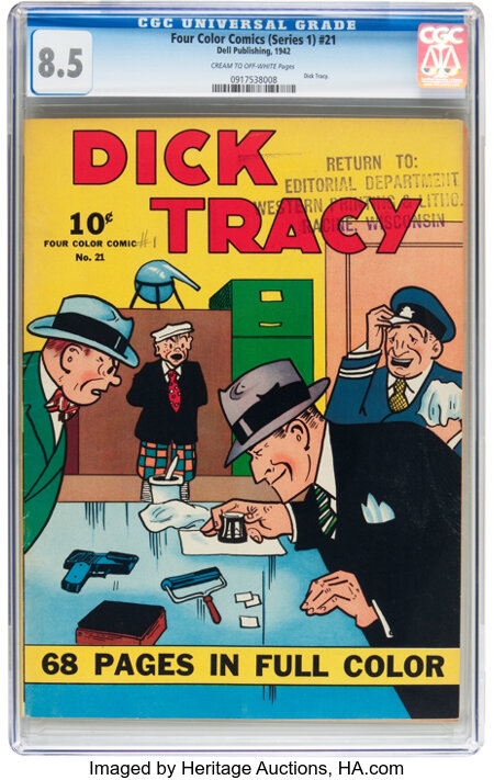 Four Color (Series One) #21 Dick Tracy - File Copy (Dell, 1942) CGC VF+ 8.5 Cream to off-white pages....