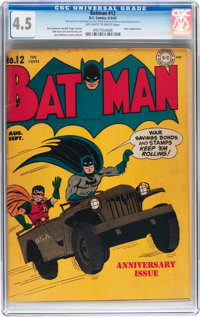 Batman #12 (DC, 1942) CGC VG+ 4.5 Off-white to white pages