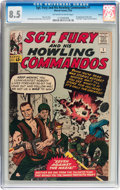 Silver Age (1956-1969):War, Sgt. Fury and His Howling Commandos #1 Circle 8 pedigree (Marvel, 1963) CGC VF+ 8.5 Off-white to white pages....