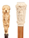 Decorative Arts, Continental:Other , TWO CARVED IVORY AND WOOD FEMALE PORTRAIT CANES . Circa 1900.40-1/4 inches length overall of malacca cane (102.2 cm). 39-3/...(Total: 2 Items)