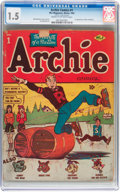 Golden Age (1938-1955):Humor, Archie Comics #1 (Archie, 1942) CGC FR/GD 1.5 Cream to off-white pages....