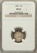Seated Dimes: , 1884 10C MS62 NGC. NGC Census: (34/282). PCGS Population (46/257).Mintage: 3,365,505. Numismedia Wsl. Price for problem fr...