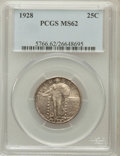 Standing Liberty Quarters: , 1928 25C MS62 PCGS. PCGS Population (84/478). NGC Census: (68/376).Mintage: 6,336,000. Numismedia Wsl. Price for problem f...