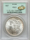 Morgan Dollars, 1887 $1 MS63 PCGS. Gold CAC. PCGS Population (44035/70607). NGCCensus: (50245/105150). Mintage: 20,290,710. Numismedia Wsl...