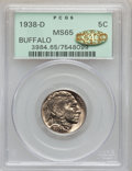 Buffalo Nickels, 1938-D 5C MS65 PCGS. CAC. PCGS Population (22861/29548). NGCCensus: (6452/21418). Mintage: 7,020,000. Numismedia Wsl. Pric...