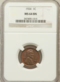 Lincoln Cents: , 1924 1C MS64 Brown NGC. NGC Census: (17/4). PCGS Population (19/1).Mintage: 75,178,000. Numismedia Wsl. Price for problem ...