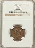 Half Cents: , 1851 1/2 C AU58 NGC. C-1. NGC Census: (105/360). PCGS Population(85/205). Mintage: 147,672. Numismedia Wsl. Price for prob...
