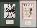 Boxing Collectibles:Autographs, Primo Carnera and Jack Dempsey Signed Cut Signature Displays Lot of2....
