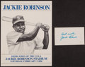 Baseball Collectibles:Others, Jackie Robinson Signed Index Card and Dedication Poster. ...