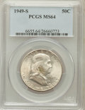 Franklin Half Dollars: , 1949-S 50C MS64 PCGS. PCGS Population (1805/1658). NGC Census:(830/1229). Mintage: 3,744,000. Numismedia Wsl. Price for pr...