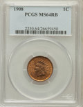 Indian Cents: , 1908 1C MS64 Red and Brown PCGS. PCGS Population (454/103). NGCCensus: (320/220). Mintage: 32,327,988. Numismedia Wsl. Pri...