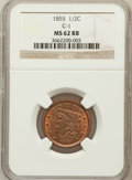 Half Cents: , 1855 1/2 C MS62 Red and Brown NGC. C-1. NGC Census: (20/184). PCGSPopulation (15/253). Mintage: 56,500. Numismedia Wsl. P...