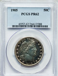 Proof Barber Half Dollars: , 1905 50C PR62 PCGS. PCGS Population (42/179). NGC Census: (21/158).Mintage: 727. Numismedia Wsl. Price for problem free NG...