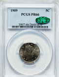 Proof Liberty Nickels: , 1909 5C PR66 PCGS. CAC. PCGS Population (201/34). NGC Census:(262/88). Mintage: 4,763. Numismedia Wsl. Price for problem f...