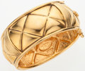 Luxury Accessories:Accessories, Chanel Gold Quilted Cuff Bracelet with CC Logo. ...