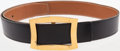 Luxury Accessories:Accessories, Hermes 85cm Black Calf Box and Gold Togo Leather Belt with GoldMartine Buckle. ...
