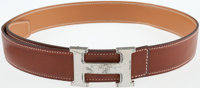 Hermes 85cm Natural Barenia Leather Belt with Palladium H Buckle