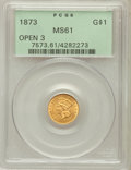 Gold Dollars: , 1873 G$1 Open 3 MS61 PCGS. PCGS Population (212/1140). NGC Census:(417/1356). Mintage: 123,300. Numismedia Wsl. Price for ...