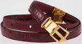 Luxury Accessories:Accessories, Lanvin Burgundy Crocodile Skinny Belt with Gold Hardware. ...