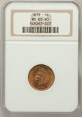 Indian Cents: , 1879 1C MS65 Red NGC. NGC Census: (22/2). PCGS Population (53/17).Mintage: 16,231,200. Numismedia Wsl. Price for problem f...