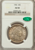 Barber Half Dollars: , 1906 50C AU58 NGC. CAC. NGC Census: (50/182). PCGS Population(51/236). Mintage: 2,638,675. Numismedia Wsl. Price for probl...