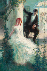 JOHN HARMON CASSEL (American, 1877-1960) Young Couple Having a Casual Conversation, 1912 Oil on canv
