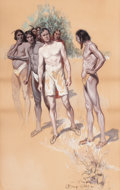Mainstream Illustration, GEORGE FORT GIBBS (American, 1870-1942). Meeting the Tribe.Watercolor and gouache on paper. 17 x 26.25 in. (image). Sig...