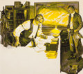 Mainstream Illustration, HAL STONE (American, 20th Century). Meeting in a Rancher'sOffice. Gouache on paper. 16.5 x 18.5 in. (image). Signedcen...
