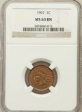 Indian Cents: , 1907 1C MS63 Brown NGC. NGC Census: (97/180). PCGS Population(87/106). Mintage: 108,138,616. Numismedia Wsl. Price for pro...
