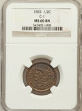 Half Cents: , 1855 1/2 C MS60 Brown NGC. C-1. NGC Census: (6/513). PCGSPopulation (5/346). Mintage: 56,500. Numismedia Wsl. Price forpr...