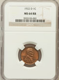 Lincoln Cents: , 1922-D 1C MS64 Red and Brown NGC. NGC Census: (138/39). PCGSPopulation (216/31). Mintage: 15,274,000. Numismedia Wsl. Pric...