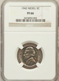Proof Jefferson Nickels: , 1942 5C Type One PR66 NGC. NGC Census: (752/298). PCGS Population(1316/332). Mintage: 29,600. Numismedia Wsl. Price for pr...