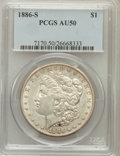 Morgan Dollars: , 1886-S $1 AU50 PCGS. PCGS Population (133/5291). NGC Census:(47/3303). Mintage: 750,000. Numismedia Wsl. Price for problem...