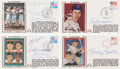 Autographs:Others, 1980's Hall of Famers Signed FDC's Lot of 4....