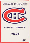 Hockey Collectibles:Publications, 1961-62 Montreal Canadiens Yearbook. ...