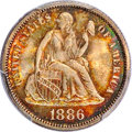 Seated Dimes, 1886 10C MS66 PCGS. CAC....