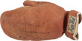 Boxing Collectibles:Memorabilia, 1930's Jack Johnson Signed Boxing Glove....