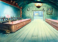 "Animation Art:Production Drawing, Terrytoons ""Free Lunch"" Production Background Painting (Terrytoons,1940s)...."