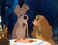 Animation Art:Production Cel, Lady and the Tramp Three-Cel Set-Up With Disney Oil-Painted Art Props Background (Walt Disney, 1955)....