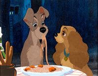Lady and the Tramp Three-Cel Set-Up With Disney Oil-Painted Art Props Background (Walt Disney, 1955)
