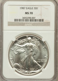 Modern Bullion Coins, 1987 $1 One Ounce Silver Eagle, MS70 NGC. NGC Census: (302). PCGSPopulation (10). Mintage: 11,442,335. Numismedia Wsl. Pri...