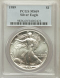 Modern Bullion Coins, 1989 $1 One Ounce Silver Eagle, MS69 PCGS. PCGS Population(4771/0). NGC Census: (91978/346). Mintage: 5,203,327. Numismedi...