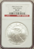 Modern Bullion Coins, 2006 $1 One Ounce Silver Eagle, First Strike MS69 NGC. NGC Census:(63162/2228). PCGS Population (138866/346)....