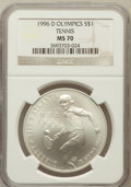 Modern Issues: , 1996-D $1 Olympic/Tennis Silver Dollar MS70 NGC. NGC Census: (77).PCGS Population (124). Numismedia Wsl. Price for proble...